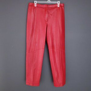 DANIER LEATHER Pants Tapered Leg Vintage Red